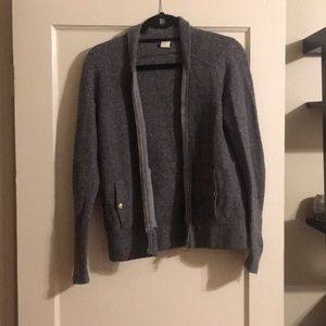 J. Crew Grey Sparkle Wool Zip Up Sweater Small